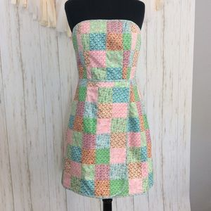 Vineyard Vines Patchwork Strapless Dress Sz 8